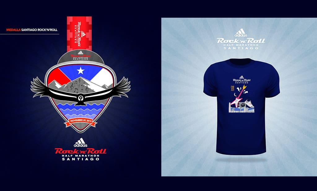 Medalla y polera de la adidas Rock'n'Roll Half Marathon 2019